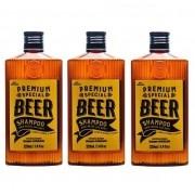Kit - 3 Shampoos 3 em 1 Beer - Barba, Cabelo e Corpo - QOD