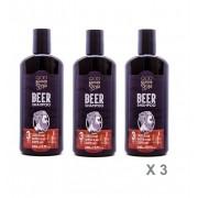 Kit - 3 Shampoos Beer 3 em 1 - Cabelo, Barba e Corpo - QOD Barber Shop
