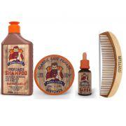 Kit Básico - Pomada Capilar, Shampoo e Óleo Barba Forte - Iron Jack