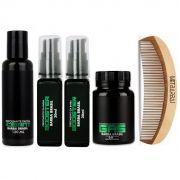 Kit - Crescer Barba 60 dias - Esfoliante, Gas, Booster e Pente - Barba Brasil