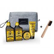 Kit - Escova de Barbeiro e  Viagem - Shampoo, Condicionador, Pomada e Balm - Barba Forte
