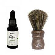 Kit - Óleo Para Barba Fresh Breeze + Pincel  de Barbear Cerdas de Cavalo - Vito