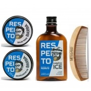 Kit Shampoo, Balm, Modelador e Pente de Madeira - Barba de Respeito