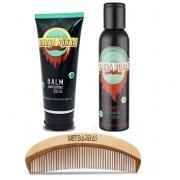 Kit - Shampoo e Balm para Barba - Barba Rubra e Pente de Madeira