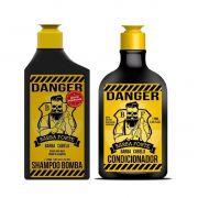 Kit - Shampoo e Condicionador Danger Para Barba e Cabelo - Barba Forte