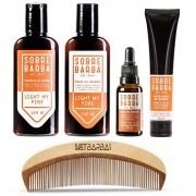 Shampoo, Balm, Óleo, Modelador Light My Fire -  Sobrebarba e Pente de Madeira Curvo Netbarbas