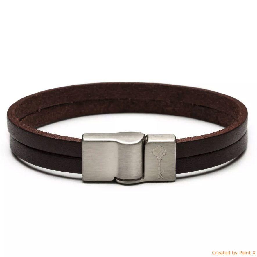 Huerta Silver Leather Brown - Pulseira Key Design