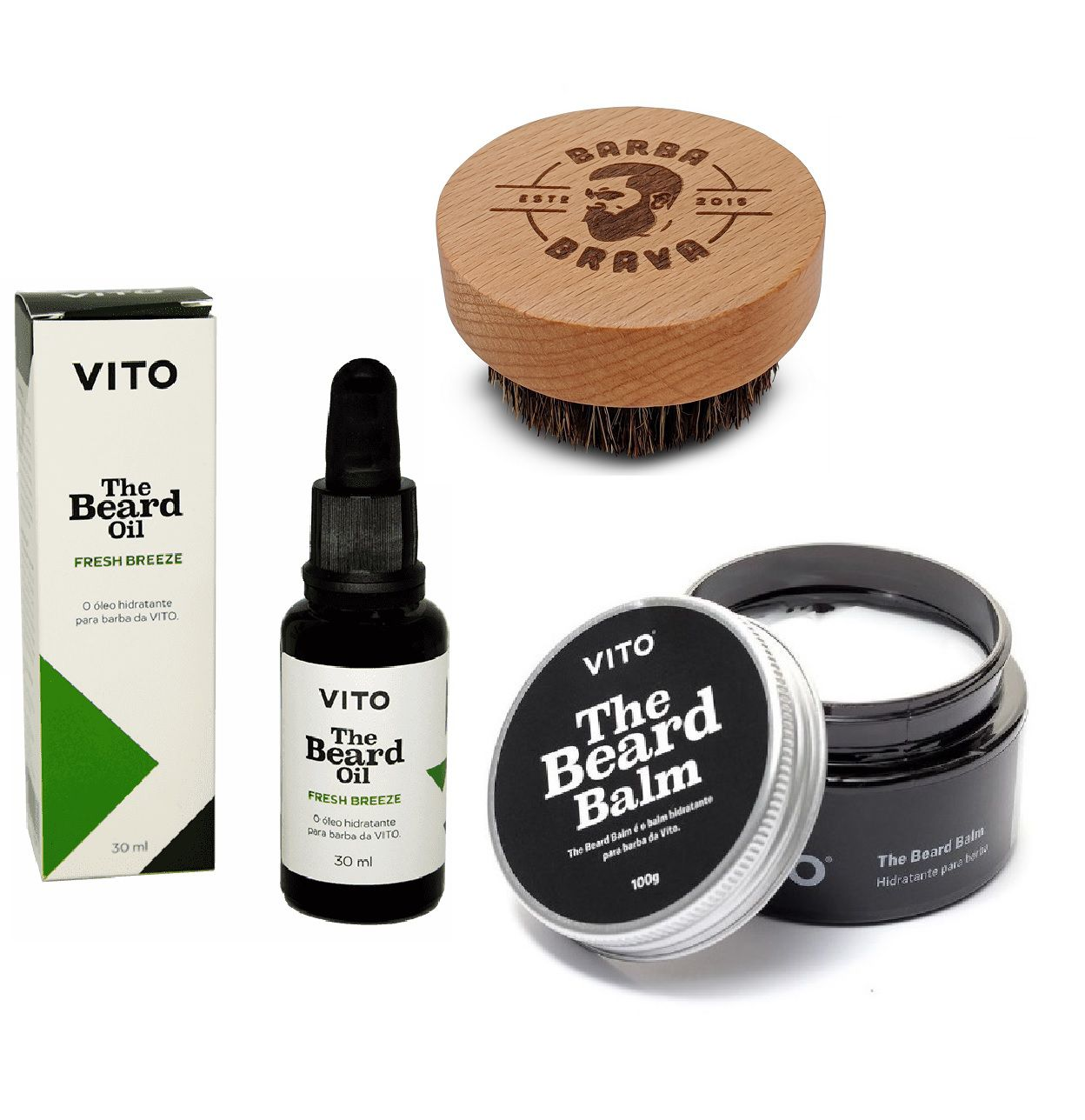 Kit - Balm e Óleo Para Barba - Vito e Escova Barba Brava