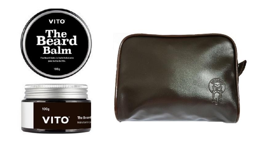 Kit - Bálsamo Para Barba Balm - Vito + Necessaire de Couro Tradicional
