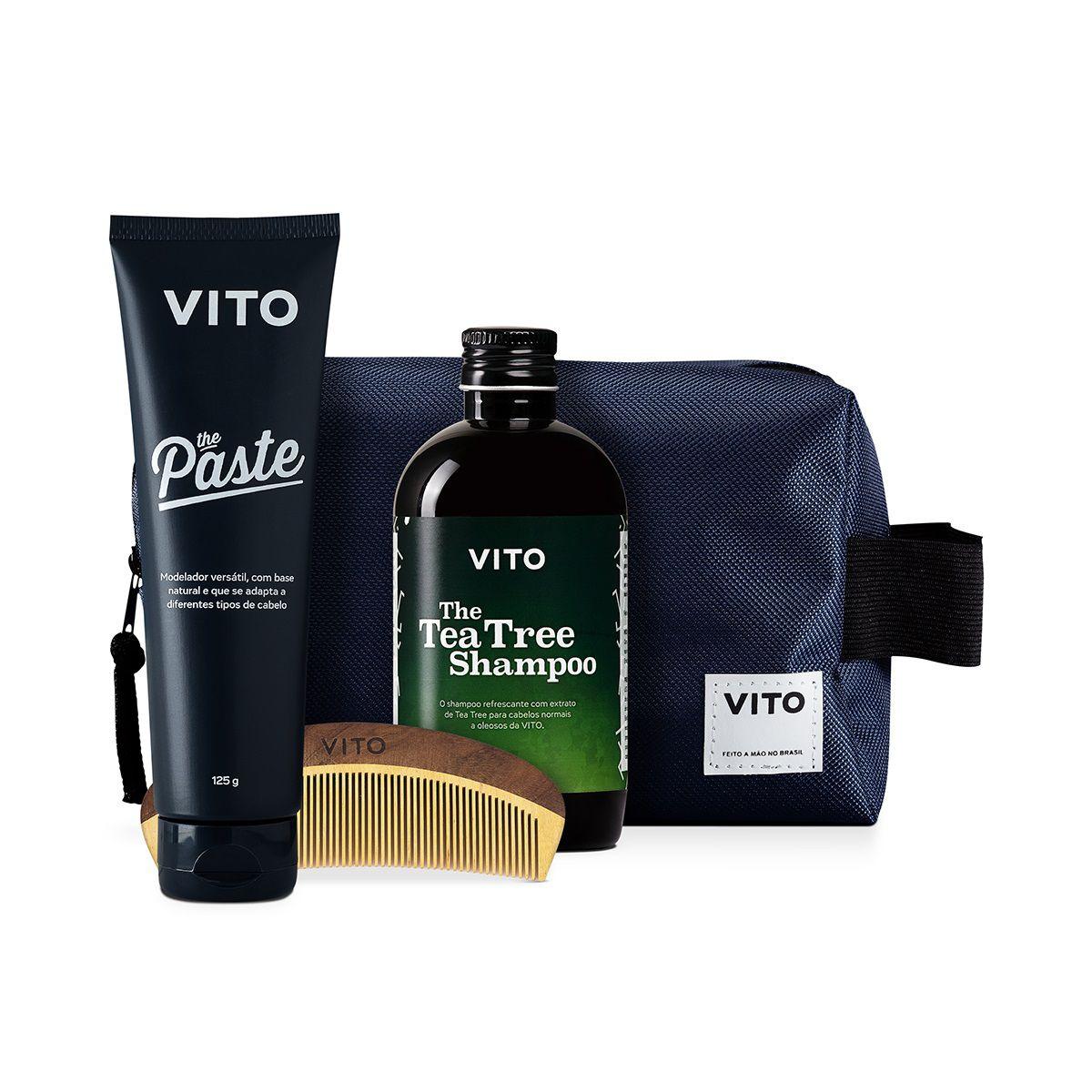 Kit - Combo Fixação Forte - Shampoo, Pomada Modeladora Paste, Pente + Necessaire - Vito
