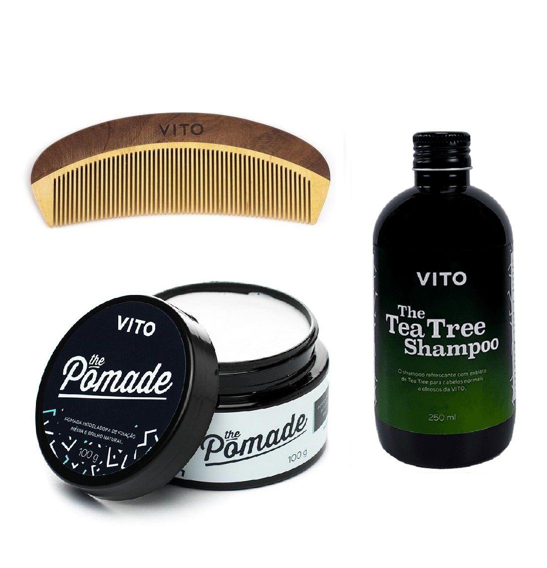 Kit Combo Para Cabelos - Fixação Media - Shampoo + Pomade + Pente - Vito