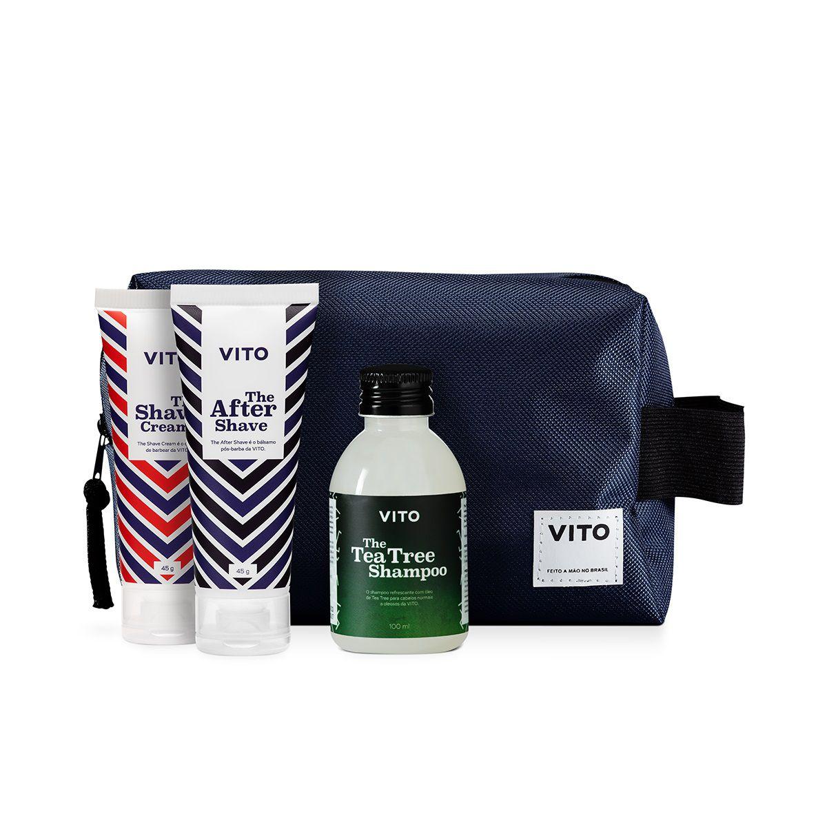 Kit - Combo Viagem Com Necessaire, Shampoo, Shave e Pós-Barba - Vito