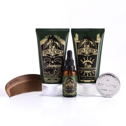 Kit - Shampoo + Balm + Óleo + Pente + Cera Para Barba - Calico Jack - Don Alcides