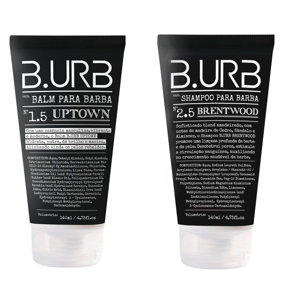 Kit - Shampoo e Balm Para Barba - Black - Barba Urbana