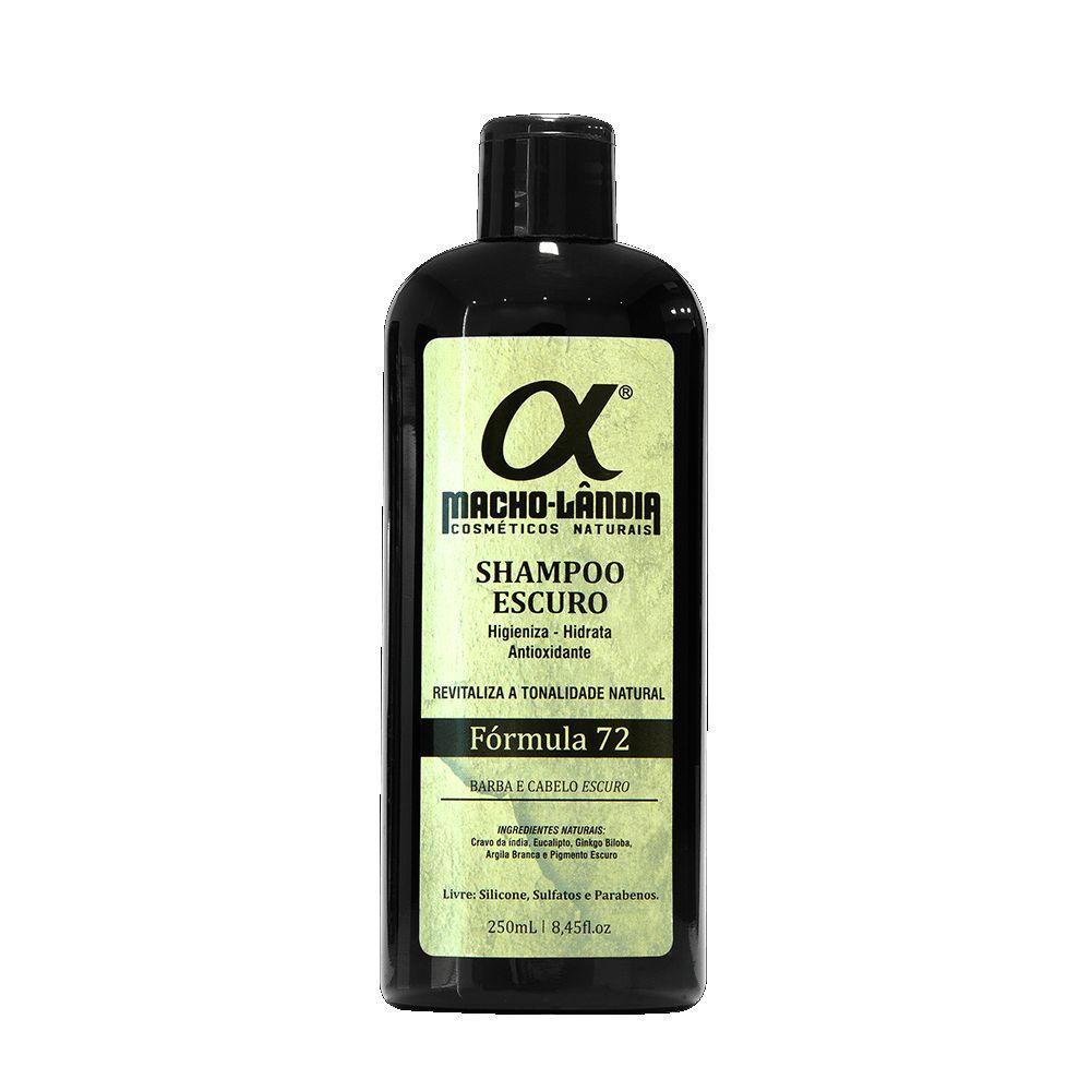 Shampoo Para Barba e Cabelo - Fórmula 72 - 250 ml - Macho-Lândia