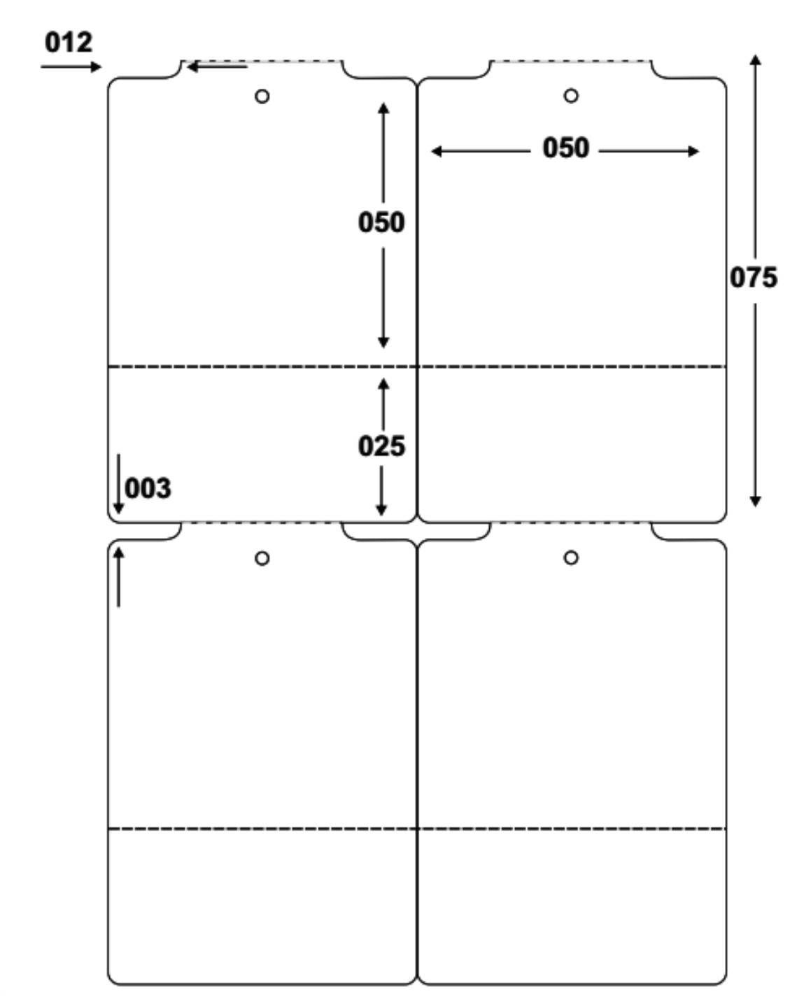 Etiqueta Tag Adesiva Couché 50x75 mm 2 Colunas (4 Rolos c/ 1.100 un. cada)  - Foco Automação Comercial e Informática