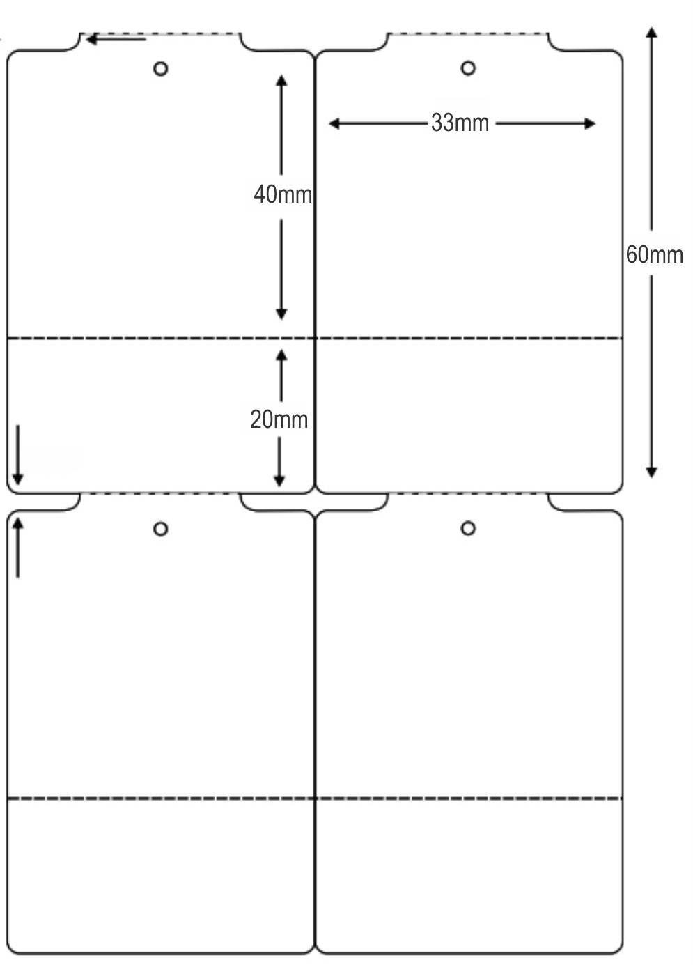 Etiqueta Tag Térmica 33x60 mm 2 Colunas 30m (6 Rolos c/ 950 un. cada)