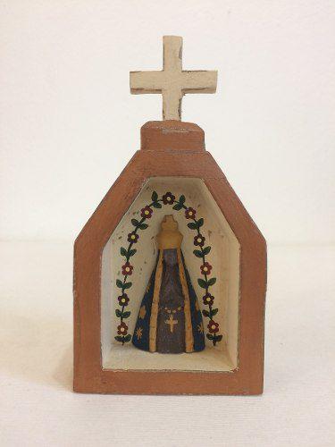 Oratório Imagem Nossa Senhora Aparecida Madeira Artesanal