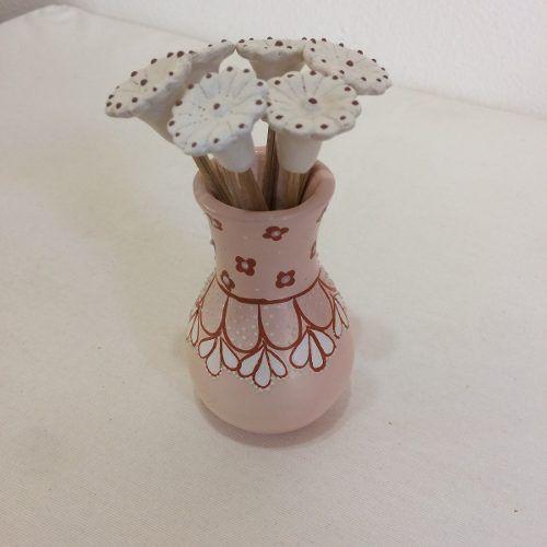 Vaso Pequeno Cerâmica Artesanal Decorativo Com Flores