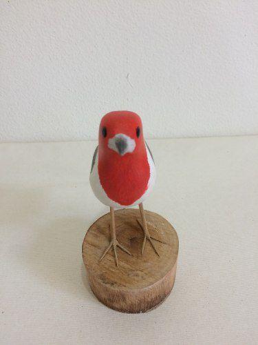 Galo De Campina Passarinho Madeira Artesanal Decorativo