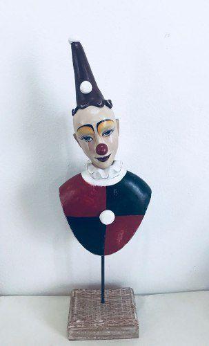 Palhaço De Madeira Artesanal Decorativo Arte Popular