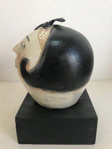 Cabeça De Cerâmica Base De Madeira Artesanal Decorativo