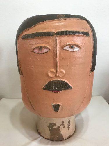 Vaso Cabeça Homem Artesanal Decorativo Arte Popular