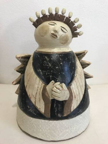 Anjo Preto E Branco Artesanal Decorativo Arte Popular