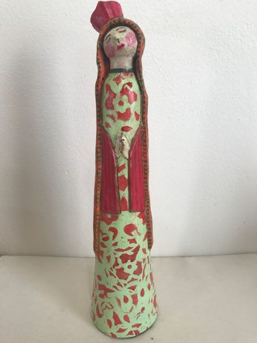 Santa Cerâmica Rosa Artesanal Decorativa Arte Popular