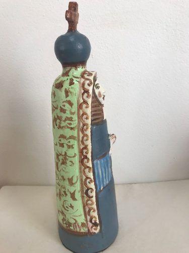 Santa Cerâmica Azul Artesanal Decorativa Arte Popular