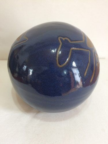 Bola Desenho Rupestre Azul Grande Artesanal Decorativo