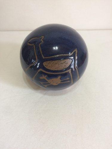 Bola Azul Desenho Rupestre Pequena Artesanal Decorativo