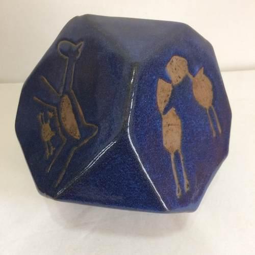 Cubo Azul Desenho Rupestre Grande Artesanal Decorativo