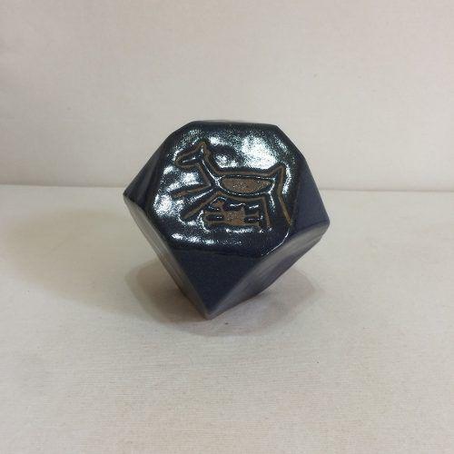 Cubo Azul Desenho Rupestre Pequeno Artesanal Decorativo