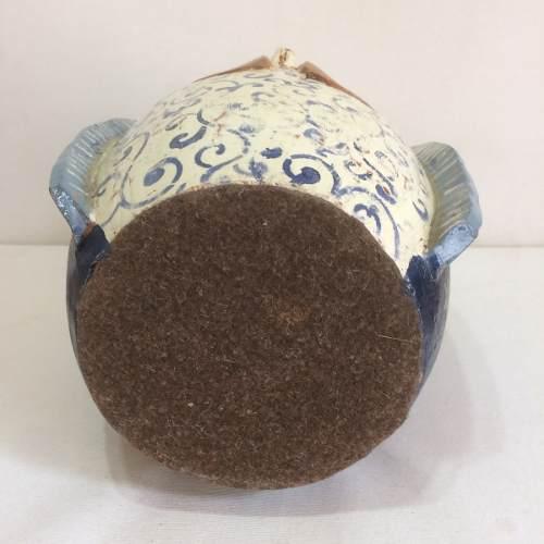 Santa Azul Média Cerâmica Artesanal Decorativo Arte Popular