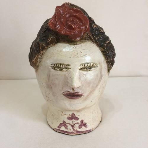 Cabeça Com Flor Vermelha Cerâmica Artesanal Decorativo