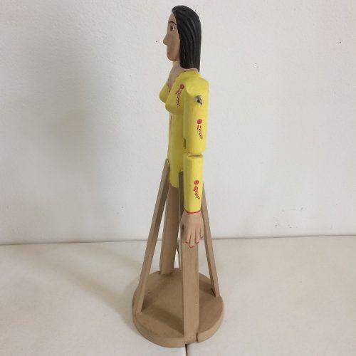 Mulher Madeira Articulada Amarela Artesanal Decorativo