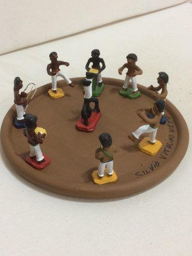 Roda De Capoeira Cerâmica Artesanal Decorativo Arte Popular