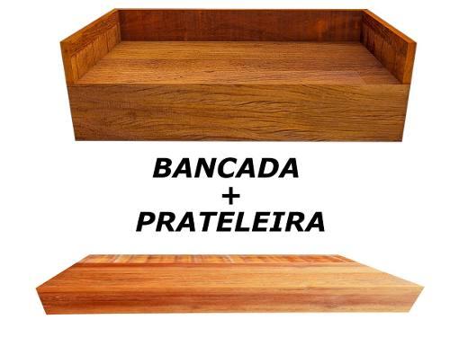Bancada E Prateleira Banheiro Madeira De Demolição 60x40