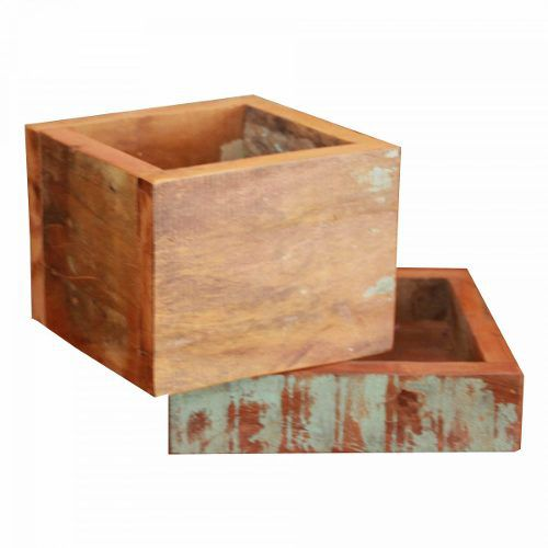 Cachepot Decorativo 0,24 X 0,24 Em Madeira De Demolição