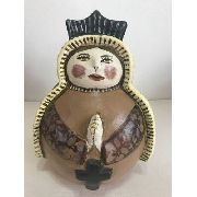 Santa Cerâmica Marrom Escuro Artesanal Decorativa