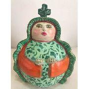 Santa Cerâmica Verde Com Laranja Artesanal Decorativo