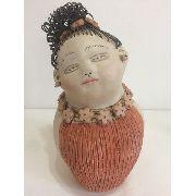 Boneca Cabelo Arame Vestido Laranja Artesanal Decorativo