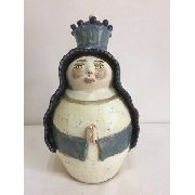 Santa Azul Pequena Cerâmica Artesanal Decorativo