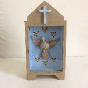 Oratório Divino Madeira Fundo Azul Artesanal Decorativo