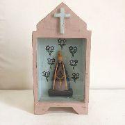 Oratório Nossa Senhora Fundo Azul Artesanal Decorativo