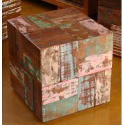 Banco De Madeira Modelo Retalho Em Madeira De Demolição Medindo 45x45x45