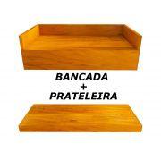 Bancada + Prateleira Banheiro Em Madeira De Demolição 100x40