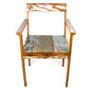 Cadeira Com Braço Em Madeira De Demolição Medindo 47x54x87