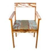 Cadeira Para Mesa Colorida Em Madeira Maciça De Demolição
